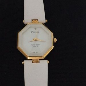 Quartz watch with white leather band